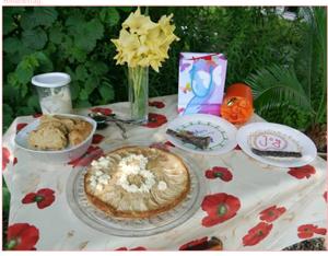 Die Geburtstagstafel ist gedeckt, Kuchen für Menschen und Trockenpansen für die Hunde…